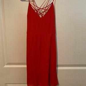 Express Coral Criss Cross Dress